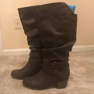 JG Brown Calf-High Boots with Chunk Heel